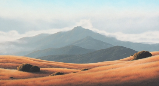 Marin landscape artist, Kathleen Lipinski, finished this large format oil painting of Mount Tamalpais from Ring Mountain.