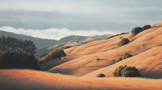 Marin artists, Kathleen Lipinski, will show this oil painting from te hills of San Anselmo at her upcoming open studio.