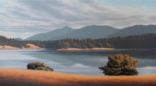 Marin artist, Kathleen Lipinski painted this view of Mt. Tamalpais from Bon Tempe Lake, an oil painting on canvas, 2016.